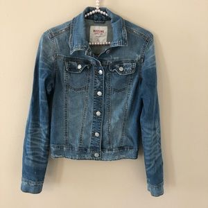 Mossimo Denim Blue Jean Jacket Distressed